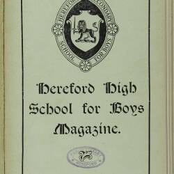 Hereford High School For Boys Magazine Vol 5 No 3_Summer Term 1919