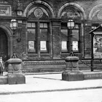 Bootle Library & Museum, displaying recruitment posters outside, 1914