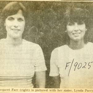 RG1885 Margaret Farr, on right, with her sister Lynda Parry, 14th July 1983.jpg