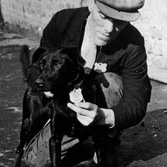 Sammy Needham with Paddy the Dog