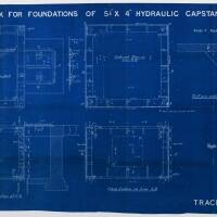 """Drawing for tank for foundations of 5 1/4"""" x 4"""" hydraulic capstan"""
