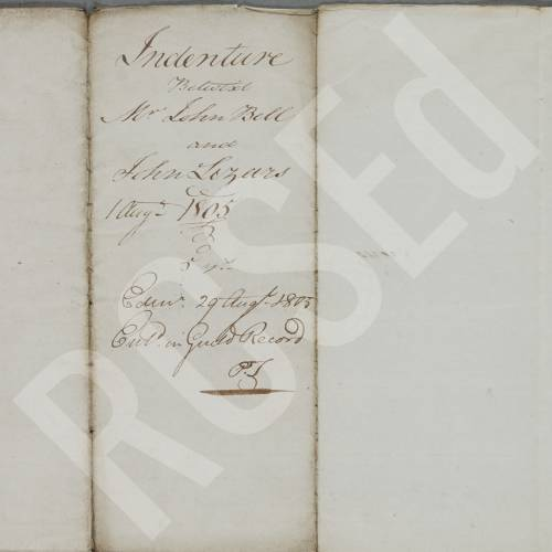 Indenture between John Bell, surgeon apothecary in Edinburgh, and John Lizars, son of Daniel Lizars for a period of five years and upon payment of £50 sterling