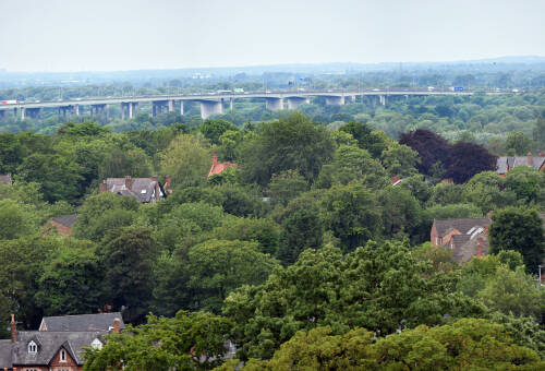 Thelwall Viaduct panorama, 2019
