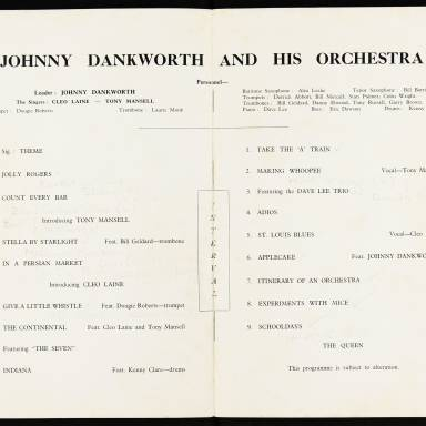 Johnny Dankworth and His Orchestra with Cleo Laine and Tony Mansell, City Hall, Newcastle upon Tyne - December 7th 1956 002