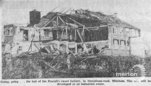 Demolition of Pascall's sweet factory, Streatham Road, Mitcham
