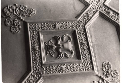 Decorated ceiling in Poltimore House, c1975, Exeter