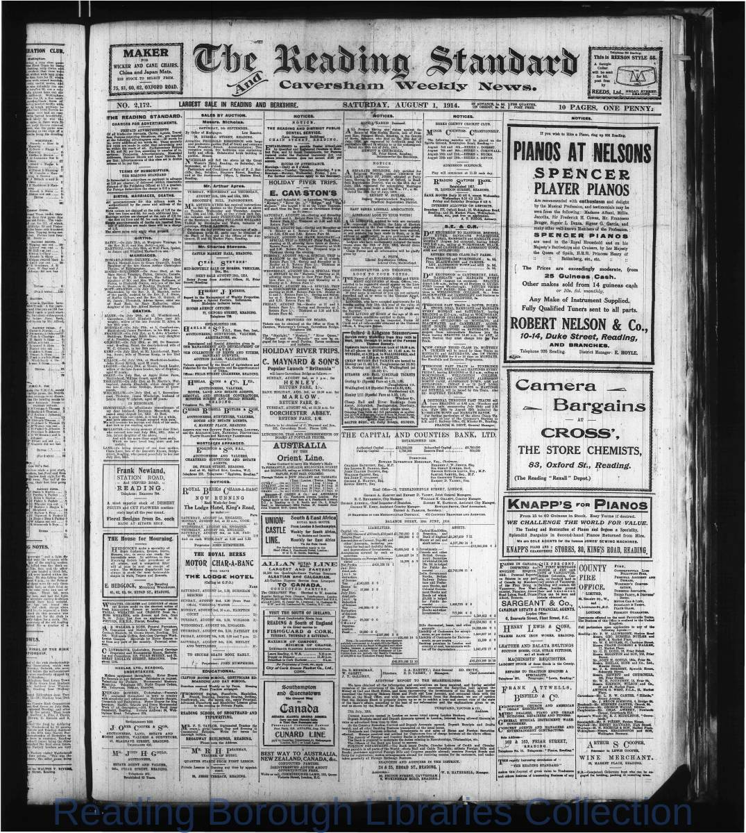 Reading Standard, Saturday, August 1,  1914. Pg 1