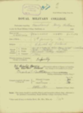 Beauchamp Butler -  RMC Form 18A Personal Detail Sheets Jan & Sept 1920 Intake