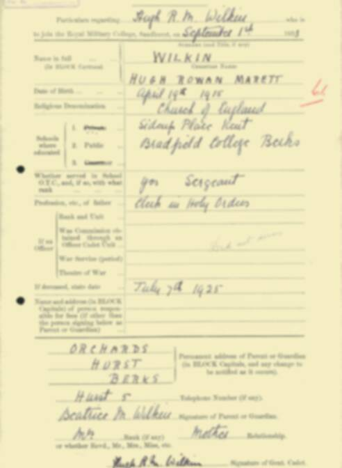 RMC Form 18A Personal Detail Sheets Feb & Sept 1933 Intake - page 309