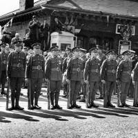 Soldiers parading during the visit of King George VI and Queen Elizabeth, Bootle, 1938