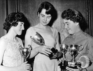 Mitcham Athletic Club.  Carol Davis, Clare Barnes and Linda Marsden