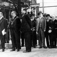Lord Derby, the Mayor of Bootle, Councillor Edmund Gardner, and Frederick Bowring inspecting Penroll Works, Bootle, 1928