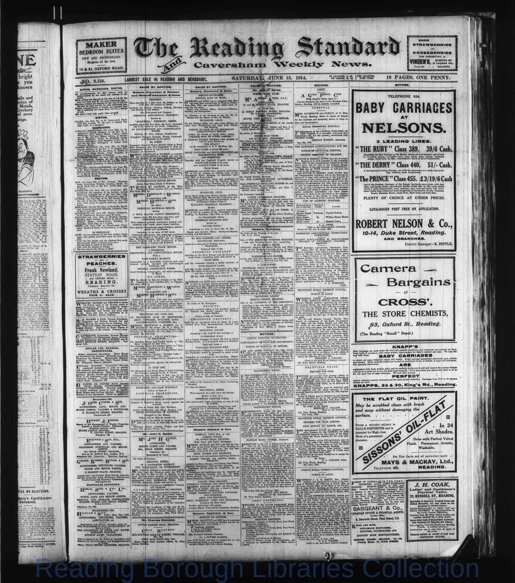Reading Standard, Saturday, June 13,  1914. Pg 1