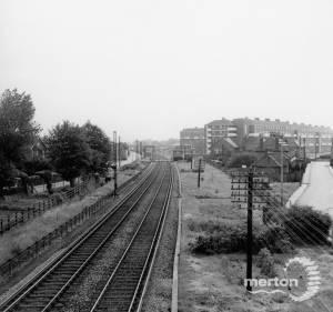 From Sandy Lane footbridge, Mitcham, looking south
