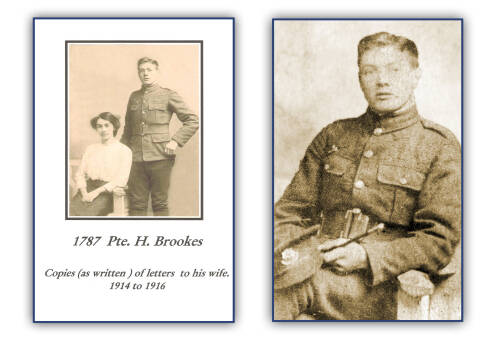 Mr Henry (Harry) Brookes: copies (as written) of letters to his wife, 1914 - 1916