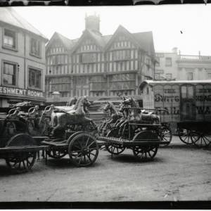 Horses ride packed before departure after the May Fair in front of the Old House, Commercial Street, Hereford, c.1895