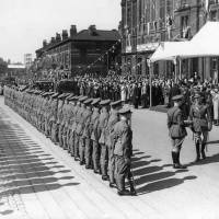 Soldiers parading during the Visit of King George VI & Queen Elizabeth, 1938