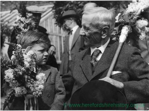 A man and a boy at the Heart of Oak Club Walk in Fownhope, 1955