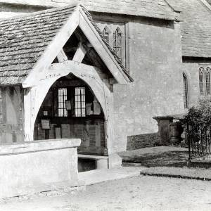 Brampton Abbotts church porch, 1928