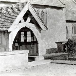 Brampton Abbotts church porch, 1928