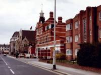 Queens Road, Wimbledon: Wimbledon Fire Station and Baptist Church