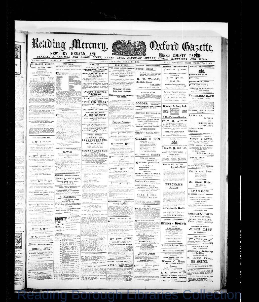 Reading Mercury Oxford Gazette Saturday, March 13, 1915. Pg 1