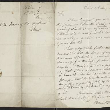 Letter to the Preses of the Society of Barbers from Peter McLagan requesting that the Preses put his petition before the Society that evening