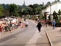 Spectators queue for the Wimbledon Tennis championships, Church Road, Wimbledon