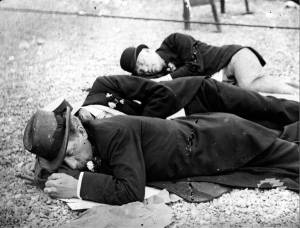 George Pitt and Berkeley Teetotal lecturers sleeping on Brighton beach.
