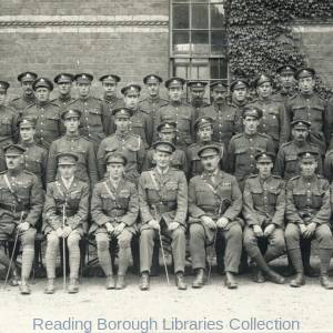 The Return of the 5th Battalion Royal Berkshire regiment on 18 June 1919. The officers photographed at Brock Barracks.