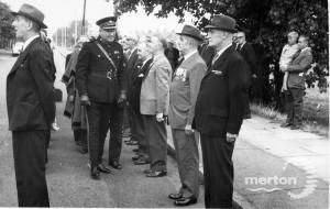 Unveiling of the memorial to members of the Mitcham Home Guard killed at the Tower Creameries, 1941