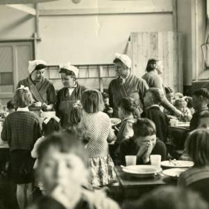 Dinner ladies serving at Ross Primary School, Cantilupe Road, Ross-on-Wye