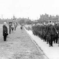 Air Training Corps marchpast, 1940, the mayor of Bootle taking the 'eyes right' salute