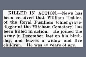 Newspaper Extract Regarding Walter William Tedder