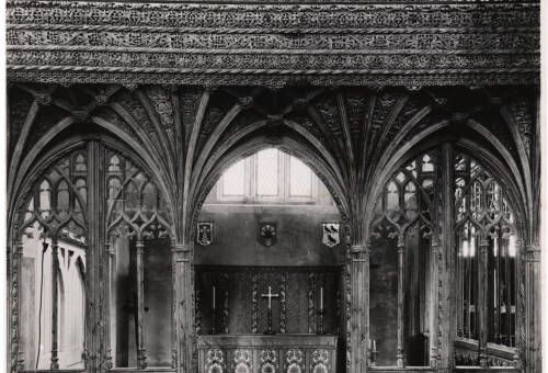 Lapford Church interior, c1930, Lapford