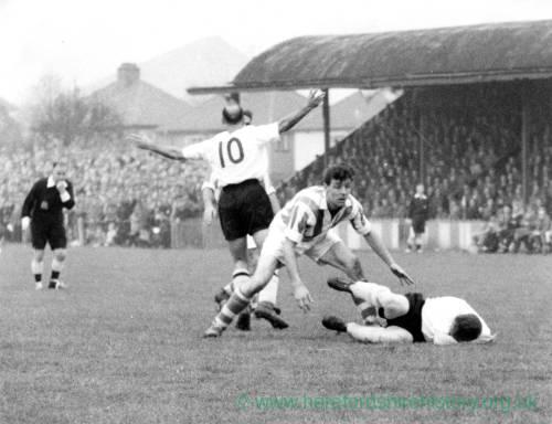 Football action at Edgar Street, 1950s.