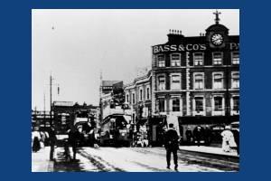 Trams crossing Wimbledon Bridge