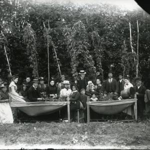 G36-217-01 Hop-picking 2 cribs, 10 women in bonnets, 2 men in boaters & 4 in bowlers, children, baby  .jpg