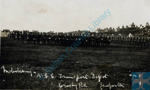 Soldiers mobilizing at ASC Transport Depot, Shore Field, Crosby Road, Seaforth in August 1914