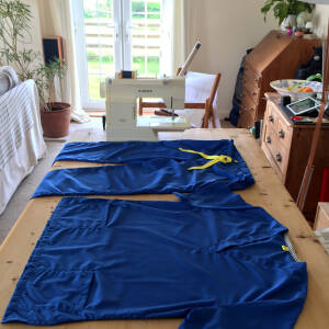 Volunteering making scrubs for the NHS and healthcare workers in the county as part of For the Love of Scrubs, Herefordshire, May 2020