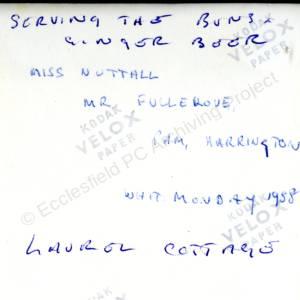 Laurel Cottage Grenoside Whit Monday 1958 (Overleaf)