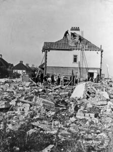 Bomb damage to houses, Claremont Avenue, Morden