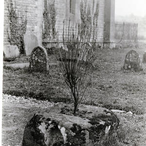 Stoke Lacy churchyard, cross base, 1928