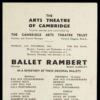 Arts Theatre of Cambridge, November 1943
