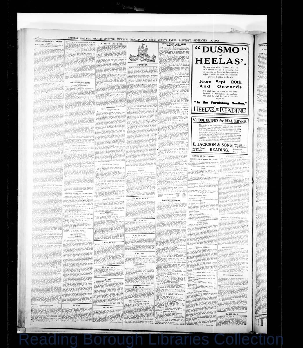 Reading Mercury Oxford Gazette  Saturday, September 18, 1915. Pg 2