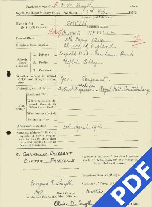 RMC Form 18A Personal Detail Sheets Feb & Sept 1933 Intake - page 123