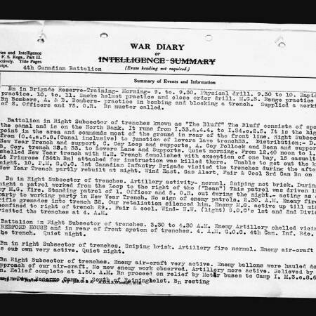 War Diary extract of the 4th Canadian Battalion on 26 May 1916