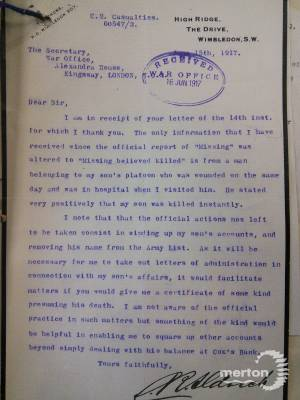 Letter to the War Office regarding Charles Pelham Gardner Aldrich