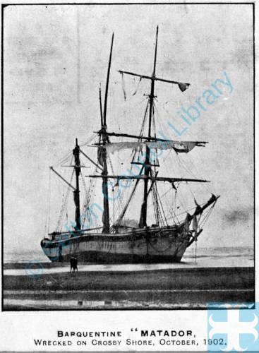 The Russian Barquentine Matador of Riga wrecked 1902 Crosby Shore