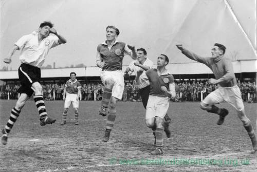 Hereford United on the attack at Edgar Street, 1950s.